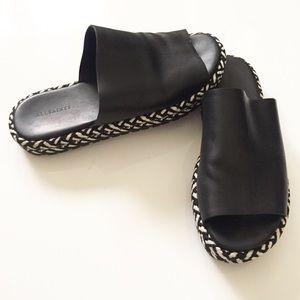 All Saints Leather Slip On Sandals Size 7